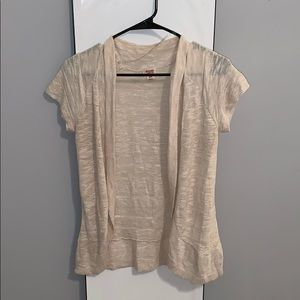 Beige short sleeved cardigan